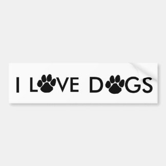 """""""I love dogs"""" cute paw print bumper sticker"""
