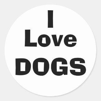 I Love DOGS Round Sticker