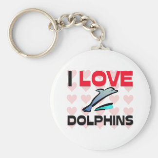I Love Dolphins Basic Round Button Keychain