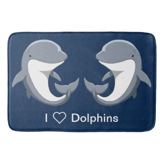 I Love Dolphins Cute Bottlenose Bath Mat