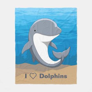 I Love Dolphins Cute Bottlenose Fleece Blanket