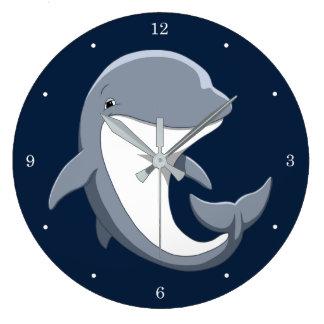 I Love Dolphins Cute Bottlenose Large Clock