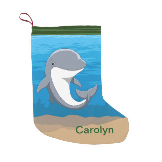 I Love Dolphins Cute Bottlenose Small Christmas Stocking