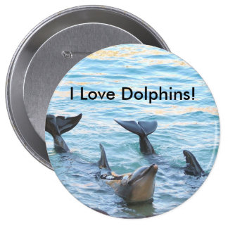 I Love Dolphins! Dolphin Photo 4 Inch Round Button