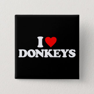 I LOVE DONKEYS 2 INCH SQUARE BUTTON