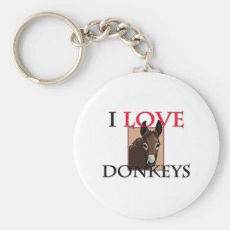 I Love Donkeys Keychain