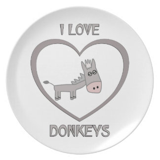 I Love Donkeys Plate