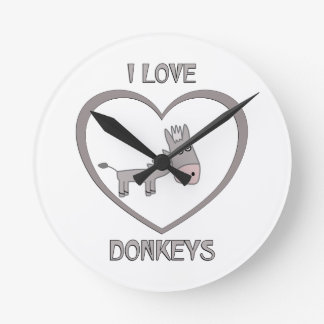 I Love Donkeys Wall Clock