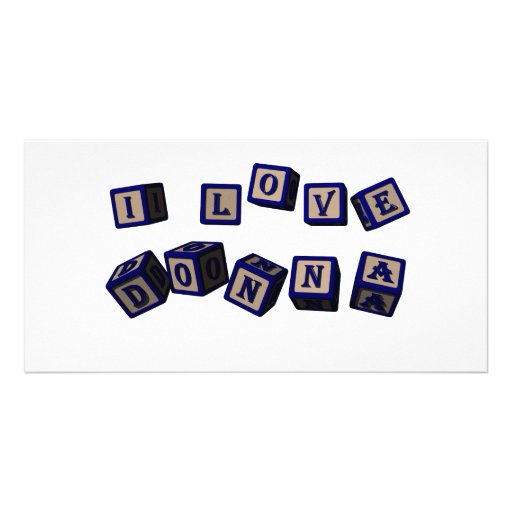 I love Donna toy blocks in blue Picture Card
