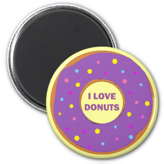 I LOVE DONUTS 2 INCH ROUND MAGNET