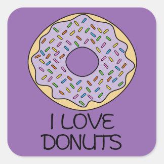 I Love Donuts Square Sticker