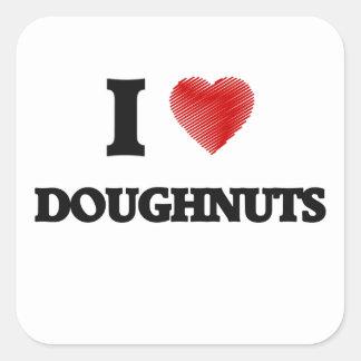 I love Doughnuts Square Sticker