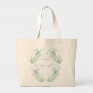 I love  Dragonflies in Blue and Green Watercolor Large Tote Bag