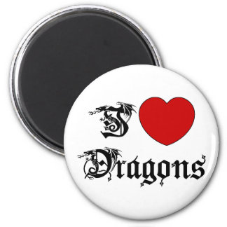 I Love Dragons 2 Inch Round Magnet