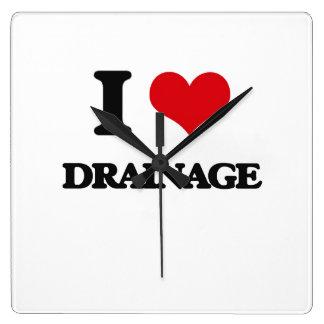 I love Drainage Square Wallclock