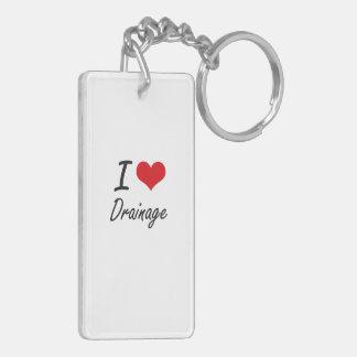 I love Drainage Double-Sided Rectangular Acrylic Keychain