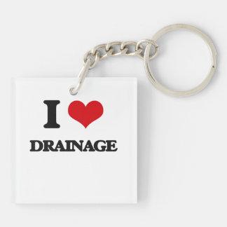 I love Drainage Square Acrylic Key Chain