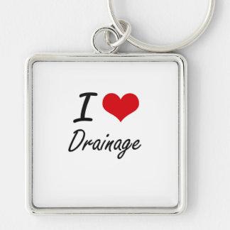I love Drainage Silver-Colored Square Keychain