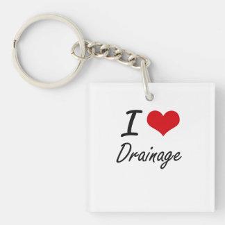 I love Drainage Single-Sided Square Acrylic Keychain