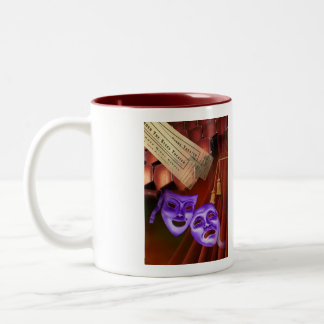 I Love Drama with drama masks on back Two-Tone Coffee Mug