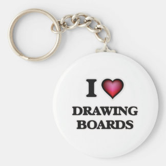 I love Drawing Boards Basic Round Button Keychain