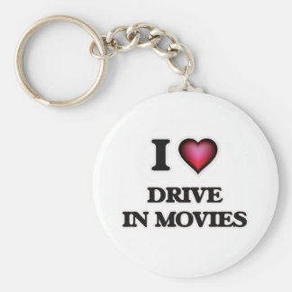 I love Drive In Movies Basic Round Button Keychain