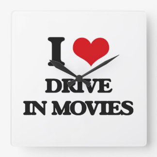 I love Drive In Movies Square Wallclock