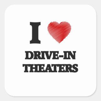 I love Drive-In Theaters Square Sticker