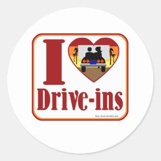 I love drive ins! round sticker