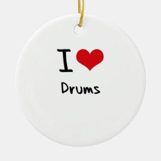I Love Drums Round Ceramic Ornament
