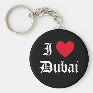 I Love Dubai Basic Round Button Keychain