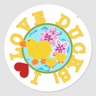 I Love Ducks Classic Round Sticker