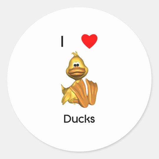 I love ducks round sticker