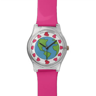 I Love Earth 12 Pink Heart Adjustable Sports Watch