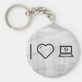 I Love Earth Laptops Basic Round Button Keychain