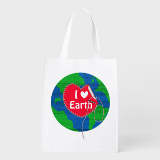 I love earth sewing heart grocery bag