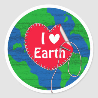 I love earth sewing heart round sticker
