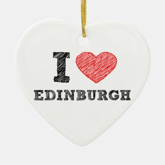 I-love-Edinburgh Ceramic Heart Ornament