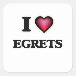 I Love Egrets Square Sticker