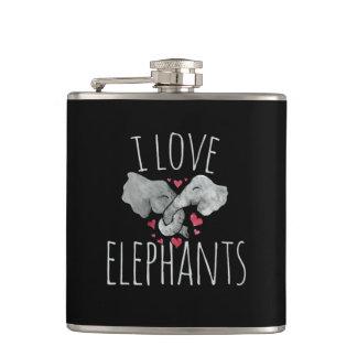 i love elephants hip flask