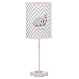 I Love Elephants - Pink Table Lamp