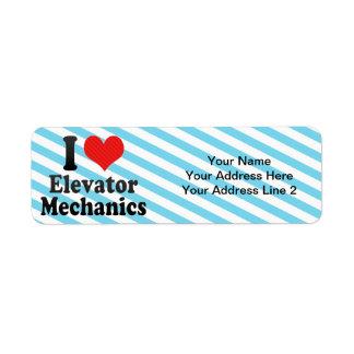 I Love Elevator Mechanics Custom Return Address Label
