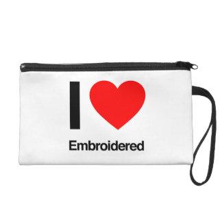 i love embroidered wristlet purses