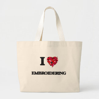 I love EMBROIDERING Jumbo Tote Bag
