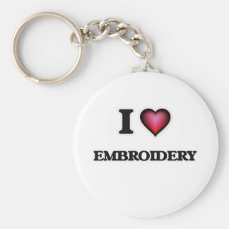 I Love Embroidery Basic Round Button Keychain