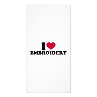 I love Embroidery Photo Card