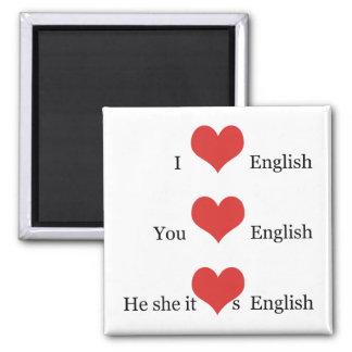 I love English Grammar TESOL ESL Teacher Student Square Magnet