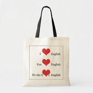 I love English Grammar TESOL ESL Teacher Student Tote Bag