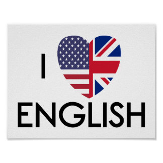 I Love English Poster. Poster