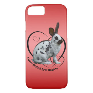 I Love English Rabbits iPhone 8/7 Case (Pink/Red)